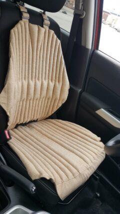 Ортопедическая накидка-подушка на автокресло. Комфорт+. бежевая. Зима-лето.