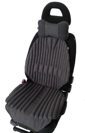 КОМПЛЕКТ. Ортопедические био подушки EKKOSEAT на кресла легковых и грузовых автомобилей и подушка на подголовник. Серый. AV-123G-203.