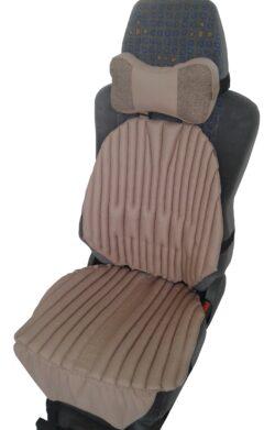 КОМПЛЕКТ. Ортопедические био подушки EKKOSEAT на кресла легковых и грузовых автомобилей и подушка на подголовник. Бежевый