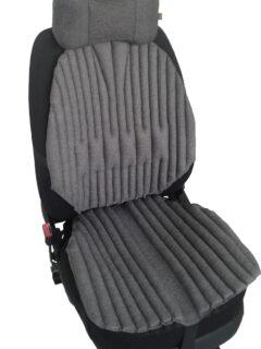 КОМПЛЕКТ. Ортопедические био подушки EKKOSEAT на кресла легковых и грузовых автомобилей и подушка на подголовник. Серый